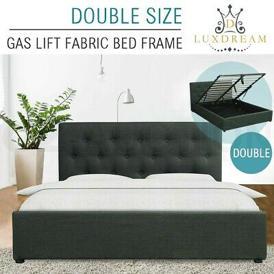 LUXDREAM Gas Lift Storage Double Size Charcoal Linen Fabric Bed Frame Modern