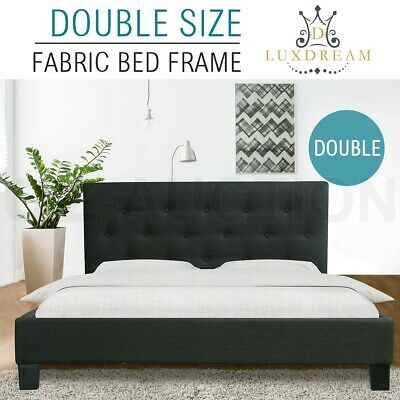 LUXDREAM Double Size Charcoal Linen Fabric Bed Frame Wooden Feet Modern Home