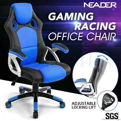Executive PU Leather Racing Office Computer Chair Home Gaming Seat Deluxe Blue