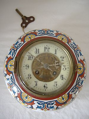 Superbe Pendule Horloge Boulangere Faience / Old French Clock - Faire Offre !!