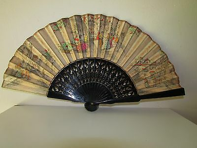 Antique Wood Carved Spanish Drawed Painted Scenes Hand Fan Eventail