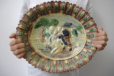 Rare Intact Tres Ancien Plat Majolique Terre Vernissee Palissy - Faire Offre !!!