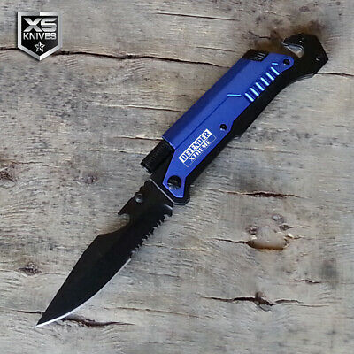 Blue EDC Spring Assisted LED MULTI TOOL Pocket Knife Belt Cutter GLASS BREAKER