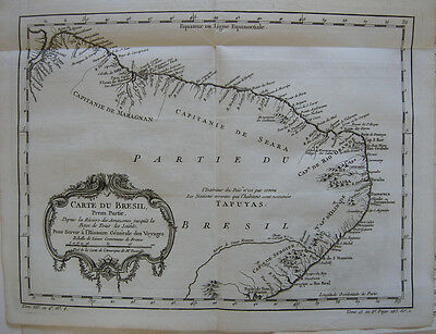 Brasil 3 Orig Copperplate maps 1780 Brasilien