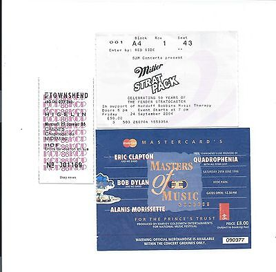 (3) David Gilmour Concert Ticket Stub / Stubs Pink Floyd The Who Eric Clapton