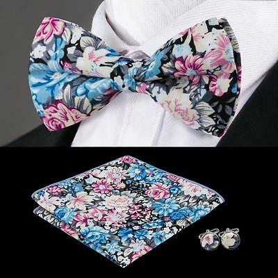 F-678 Classic Mens Blue Red 100% Cotton Bow Tie Set Bow Tie Hanky Cufflinks