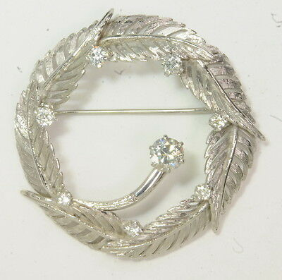 Vintage 14K White Gold 1 1/4 CTTW Diamond Tropical Leaf Wreath Estate Pin Brooch