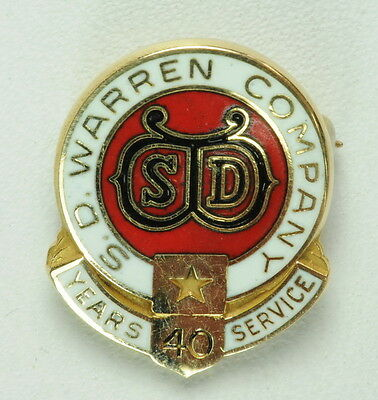 Antique Vintage 14K Y Gold S D Warren Company 40 Yrs Service Estate Pin