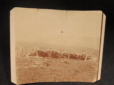 Men in Trench with Wood Fence & Mountains in Background WWI Era B&W Photo