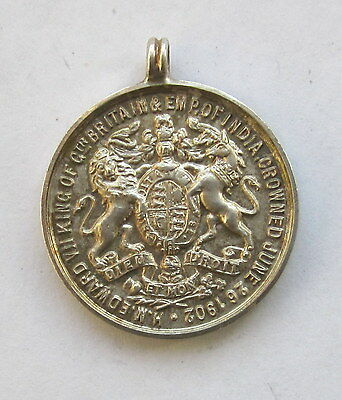 1902 KING EDWARD VII CORONATION 22mm HALLMARKED SILVER MEDAL COLLECTABLE