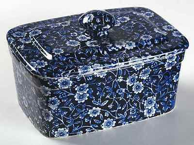 Staffordshire CALICO BLUE (BURLEIGH STAMP) Butter Box 3786629