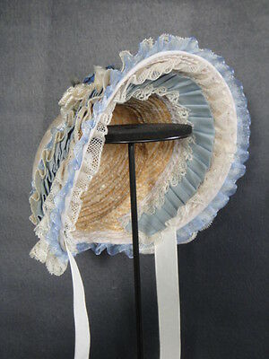 """Doll Hat Bonnet for antique doll Jumeau..-Head circumference 11-12"""" (I69) BLUE"""