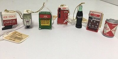 """Lot of 7 Coca Cola Christmas Ornaments Trinkets 2"""" NEW Vintage Stock"""
