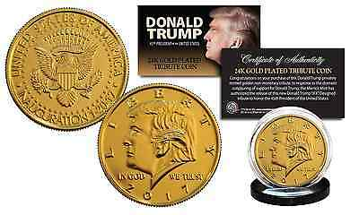2017 DONALD TRUMP Dated OFFICIAL Pres. Inauguration 24K Gold Plated Tribute Coin