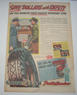 Old Vintage 1936 - GOODYEAR Pathfinder TIRES - Poster-Size Advertisement