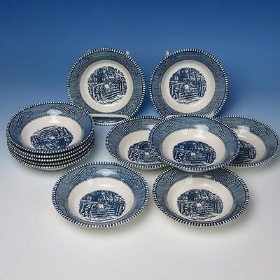 Royal China - Currier & Ives - The Old Grist Mill - 12 Fruit or Dessert Bowls