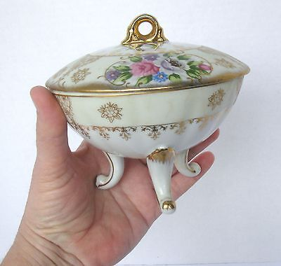Antique? VTG, 3 FOOTED PORCELAIN Nut or Candy Dish with LID, Covered Bowl