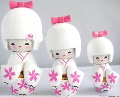 3Pcs Oriental Japanese Kokeshi dolls Girls wooden White