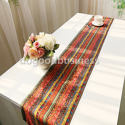 Colorful Cotton Linen Striped Table Bed Runner Pillowcase Home Wedding Decor