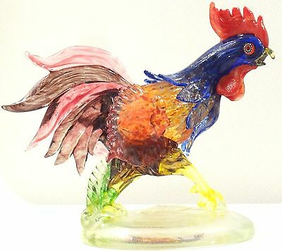 Murano Avem 24K Gold Rooster Bird Vintage 7´´ Figurine Best Expression Colorful