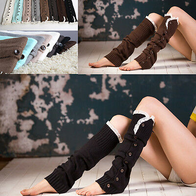 Crochet Wool Knit Socks Trim Button Down Braid Leg Warmers Boot Knee Sock NCYG