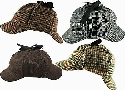 Sherlock Holmes Deerstalker Tweed Multi Check & Herringbone Wool Blend Hat Cap