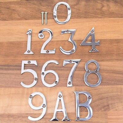 "CHROME 50mm/2"" DOOR NUMBERS / LETTERS & SCREWS House Numerals Home Front A B"