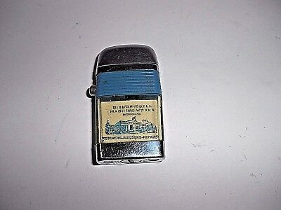 Scripto Vu Small Lighter Blue Band With Bishop-Edell Machine Works Advertisement