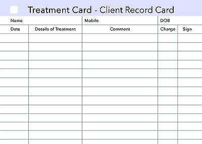 Treatment Additional Client Record Card for Nail/Beauty/Hair/Massage.. x50, A6