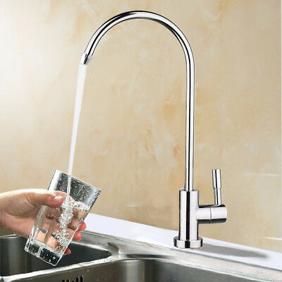 1/4'' 360° Chrome Osmosis RO Water Filter Goose neck Faucet Finish Reverse Sink