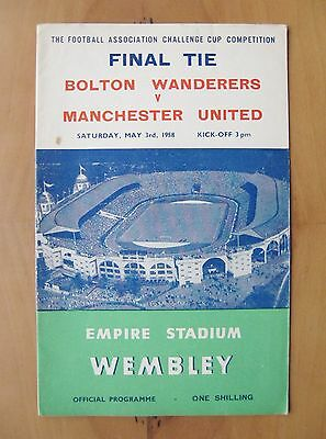 1958 FA Cup Final BOLTON WANDERERS v MANCHESTER UNITED *Exc Condition Programme*