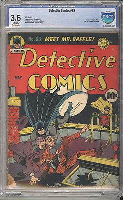 Detective Comics # 63  First app. Mr.Baffle !  CBCS 3.5 scarce Golden Age book !