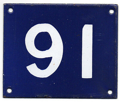 Old Australian used house number 91 door gate enamel metal sign in French blue
