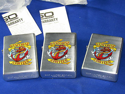 3 New West Coast Choppers Cigarette Lighters,Stainless Steel,Ships Anchor Logo