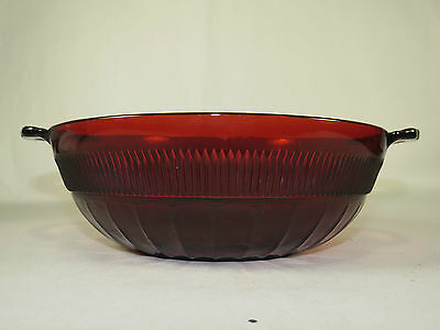 Royal Ruby Anchor Hocking Handled Glass Serving Bowl