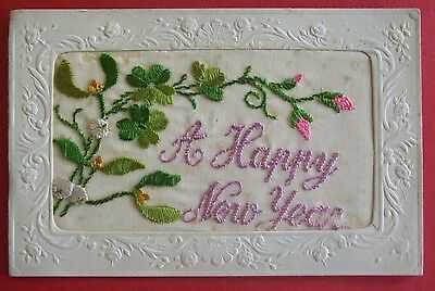 1914-1918 WORLD WAR 1 SILK Postcard A HAPPY NEW YEAR