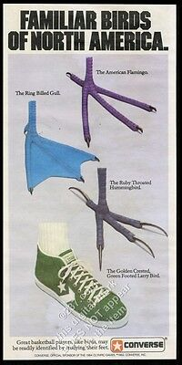 1982 Larry Bird foot and other birds feet Converse All-Star shoes print ad