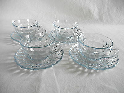 4 SAPPHIRE BLUE BUBBLE CUPS & SAUCERS Hocking Glass