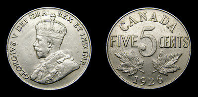 Canada 1926 Silver 5 Five Cents Near 6 VF-20 King George V