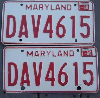 VINTAGE pair 1980 MARYLAND license plates DAV 4615 Disabled American Vet