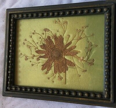 VINTAGE  Pressed FLOWERS Mounted on OLD SATIN in Frame Hand Made
