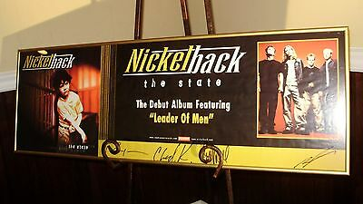 Nickelback The State Cd Promo Poster Autographed / Signed & Framed!