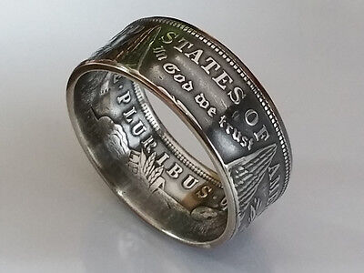 Münzring 1 Morgan Dollar 1878 - 1904 / 1921 USA Silber 900er 12mm Coin Ring