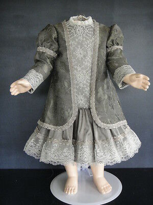 """French Doll Dress + Jacket - Antique Style for 21-23"""" doll - Made in France."""