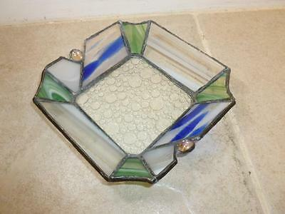 Hand Crafted Leaded Stained Glass Art Dish Bowl Tray Blue Green White