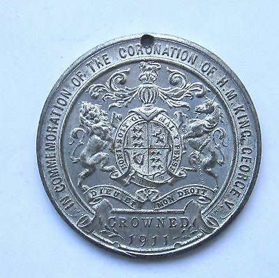 1911 KING GEORGE V CORONATION 38mm WHITE METAL MEDAL by W J DINGLEY COLLECTABLE