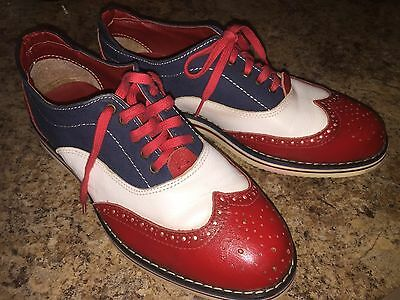 mens vintage red blue white leather Brogue's - bowling style brogues
