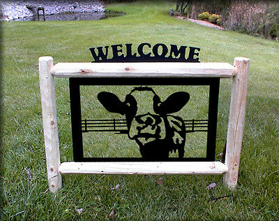 Holstein Cows-Fence-Farm-Ranch Decor-Country Living-Cow-Gifts-Clingermans Signs*