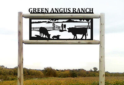 Angus Cattle-Cows-Farm Outdoor Signs-Farm And Ranch Decor #15402 4 Foot Post