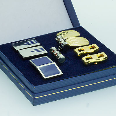 Mens Gift Box Set of 5 Pairs of Steel Silver and Gold Shirt Cufflinks